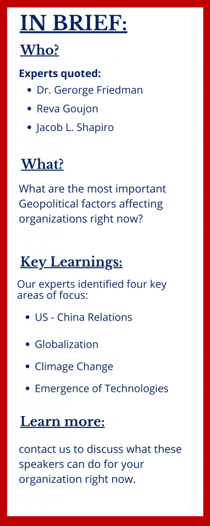 The 4 key trends in Geopolitics right now at The Sweeney Agency Speakers Bureau
