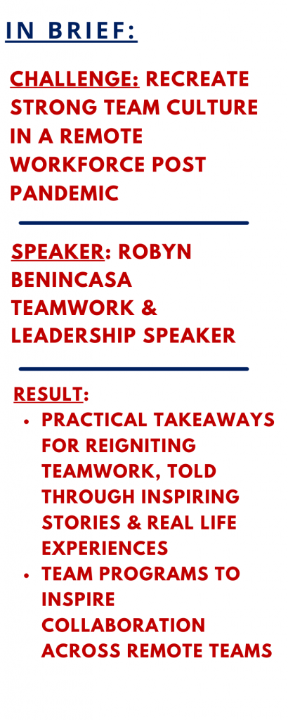 Motivational speaker Robyn Benincasa Case Study on Teamwork at The Sweeney Agency
